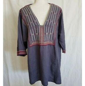 Cabi #996 Blue V-Neck Tunic Top XL Embroidered